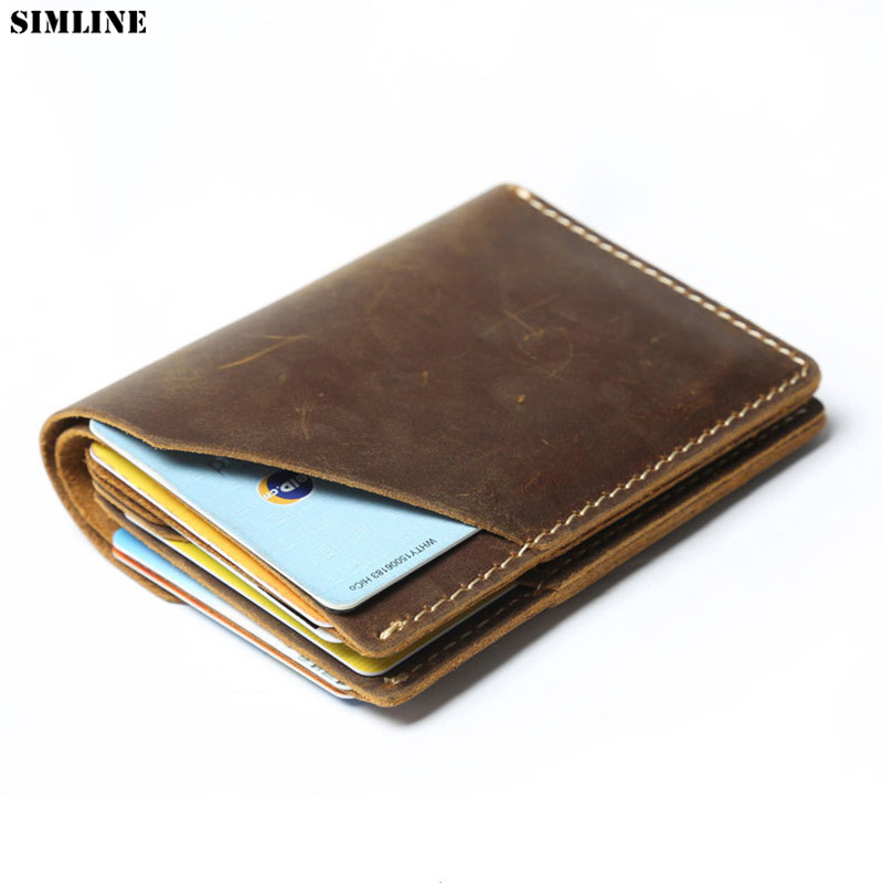 100% Genuine Leather Wallet For Men Short Vintage Handmade Crazy Horse Leather Male Short Thin Wallets Small Purse Card Holder