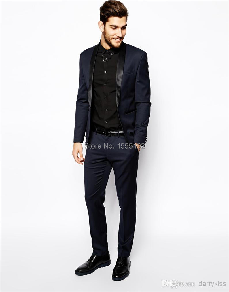 High Quality Navy Blue Custom Made Groom Tuxedos Business Suits ...