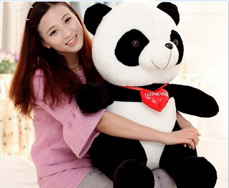 big plush panda toy lovely red heart panda doll gift about 70cm 0367 110cm cute panda plush toy panda doll big size pillow birthday gift high quality