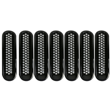 7Pcs Black Trim Front Grille Cover Insert Mesh Without Lock Hole For Jeep Wrangler JK 2007-2016