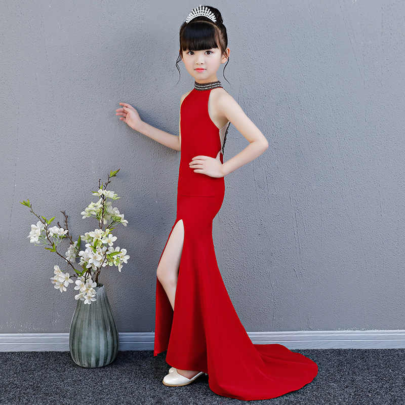 46d33acc465ea Luxury Mermaid Long Flower Girl Dress Wedding Princess Dress Red Beading  Evening Kids Girls Dress for Birthday Party Show Gowns