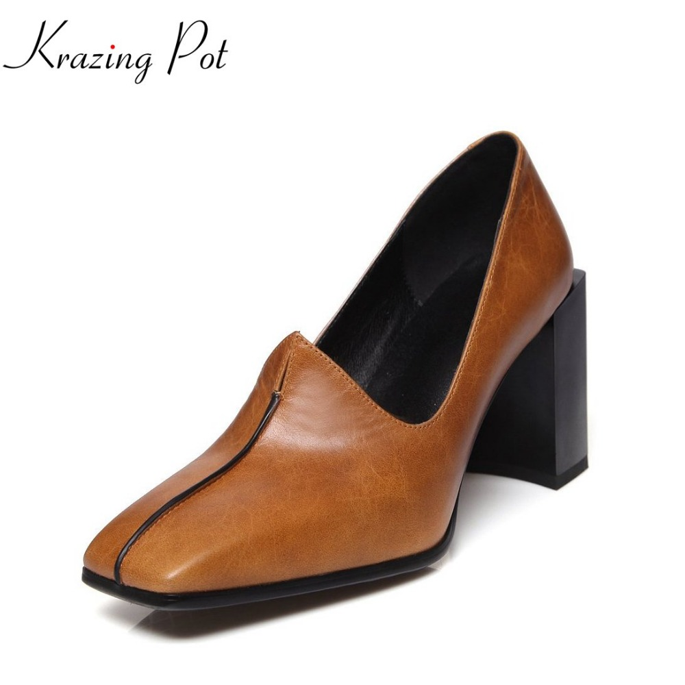 2018 Krazing pot new fashion genuine leather elegant style women pumps high heels shallow square toe slip on catwalk shoes L27 2017 krazing pot shoes women fashion med heels genuine leather pearl pumps slip on lady shoes square toe nude work pumps l3f2