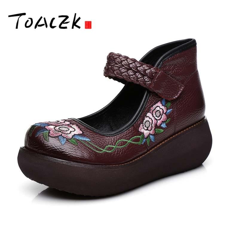 2018 printemps femmes chaussures à talons hauts plate-forme compensées pompes en cuir véritable à la main Vintage cheville sangle femmes chaussures décontractées