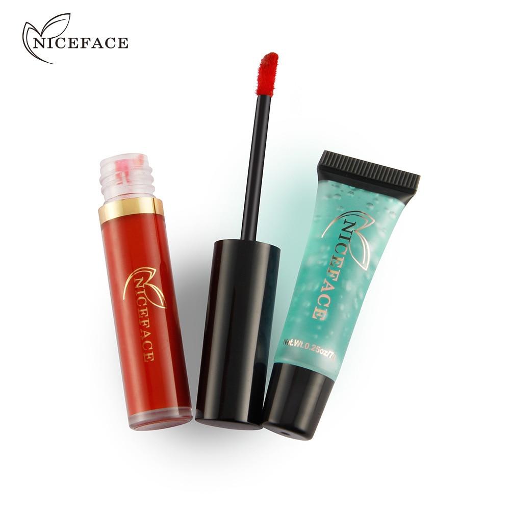 NICEFACE Brand 24 Colors 2 pcs/lots Matte Liquid Lipstick Cleansing Gel Waterproof Velvet Nude Lip Gloss Makeup Sets Brighten 5