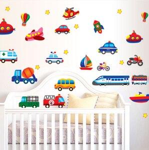 Image 2 - Creative Car Airplane Cartoon Vehicle Wall Stickers Childrens Room Kindergarten Decoration Stickers DIY Wall Sticker