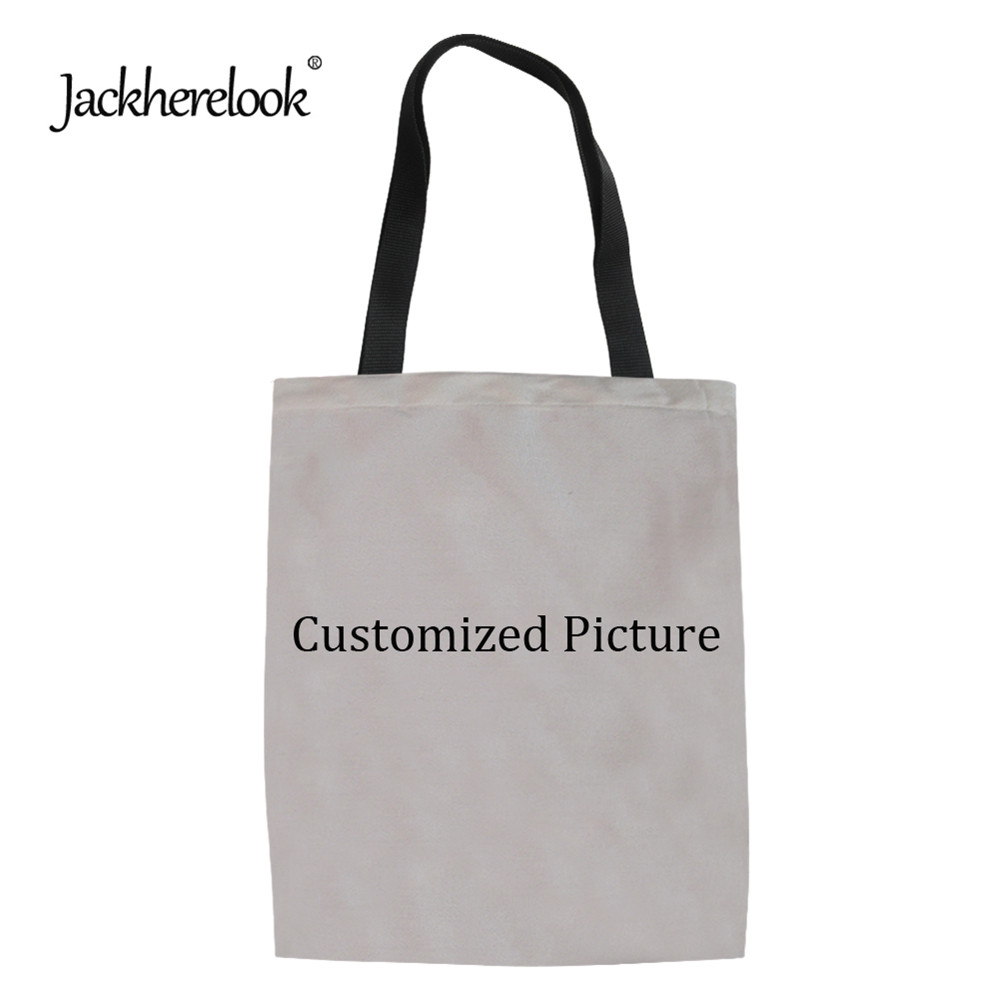 Jackherelook Customized Picture Or Logo Shopping Bags For Women Casual Fashion Eco Bag Reusable Ladies Tote Storage Shopping Bag