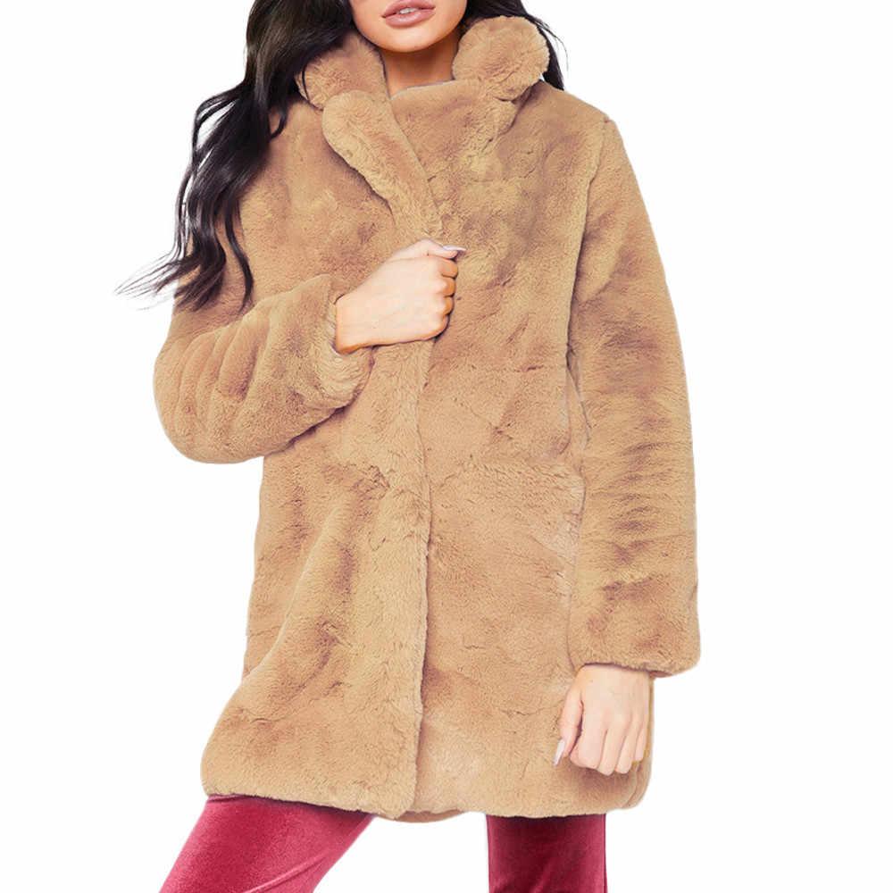 KLV 1 ADET Ceket Bayan Bayan Sonbahar Kış Sıcak Uzun Faux Kürk Katı Uzun SleeveCoat Ceket Parka Siyah Giyim Artı boyutu z1107