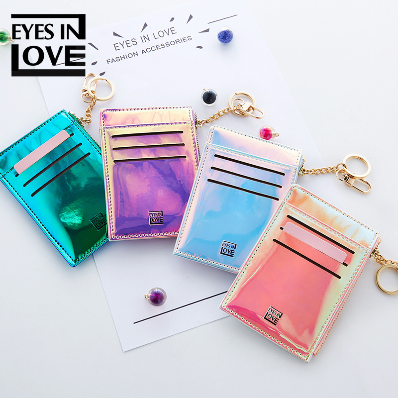 Credit Card Holder Wallet Card for Women Minimalist Wallet Pasjeshouder Housekeeper Paillette Thin Cute Card Holder Sticker in Card ID Holders from Luggage Bags