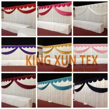 White Wedding Backdrop Curtain With Swag Drape Decoration Free Shipping