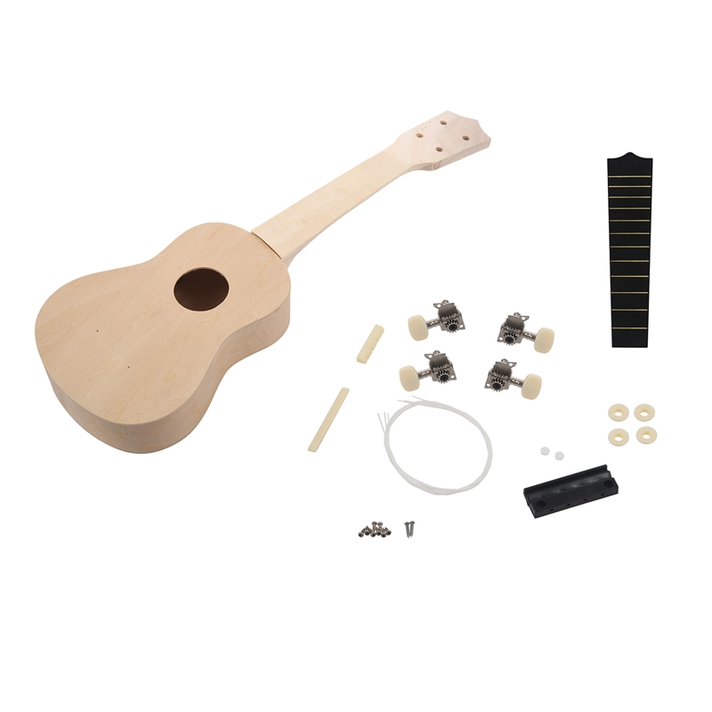 21inch White Wooden Ukulele Soprano Hawaiian Guitar Uke Kit Musical Instrument DIY