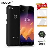 XGODY 3G Unlocked Smartphone 5.0 Inch Celular Android 8.1 Oreo Mobile Phone MT6580M Quad Core 1GB+8GB 2500mAh 5.0MP Cellphone X6