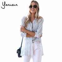 Yanueun 2017 Womens Fashion Gestreepte Medium Lange Shirts Kraagvorm Casual Inkt Patroon Lange Mouwen Tops Voor Vrouwelijke