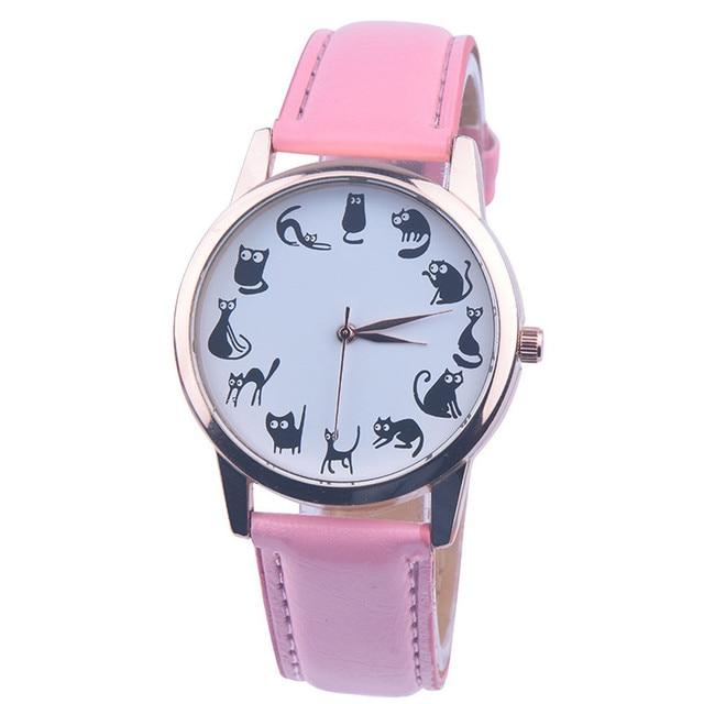2018 New Women Watches Fashion Casual Cat Leather Quartz Wristwatch High Quality