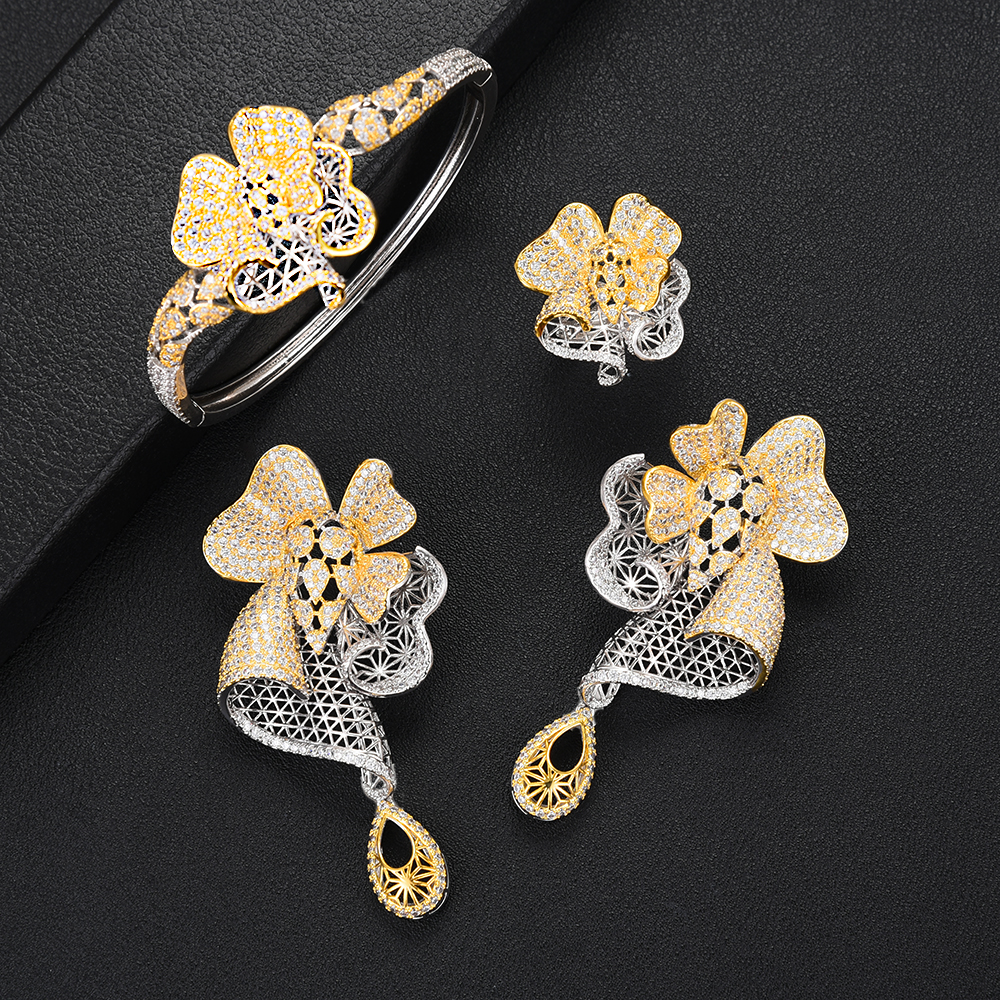 GODKI Luxury Flower Nigerian Charms Jewelry sets For Women Wedding Cubic Zircon CZ Dubai Gold Bridal Jewelry Set 2019
