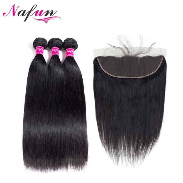 NAFUN Hair Brazilian Straight Human Hair Bundles With Lace Frontal Closure 100% Non-Remy Human Hair 3 Bundles With Lace Frontal