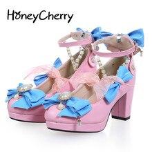 Japan's New sweet Heels Beaded Detachable Cute Bow Shoes Lolita Round Rough Shoes Merchandiser High Heels Lolita Shoes