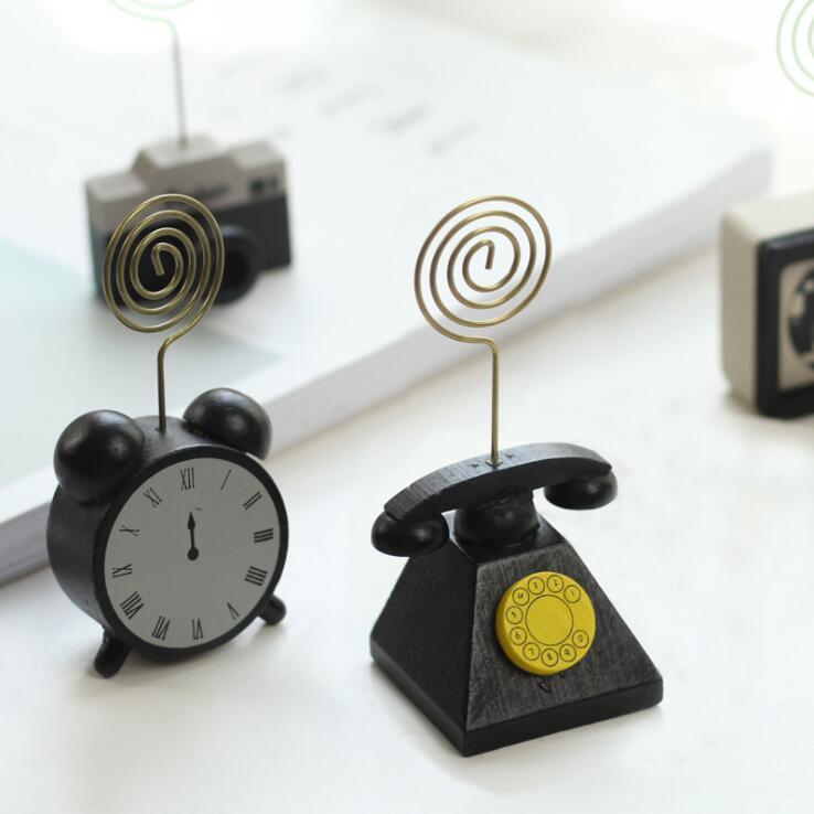 Vintage Clock Telephone Table Photo Memo Note Stander Clip Desk Name Card Holder Wedding Favors Place Card Holder Message Clips
