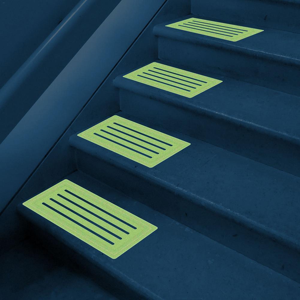 4pcs Non-slip Stair Tread Tape Luminous PVC Mat In Stair Car Glowed In The Dark Non-slip Stair Carpet Mat