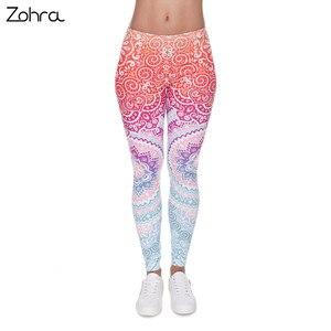Zohra الماركات النساء أزياء يغطي الرجل ازتيك جولة أومبير الطباعة leggins ضئيلة عالية الخصر طماق امرأة السراويل