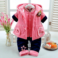 2018 Autumn Winter Baby Girl Pink Clothes Set Add Cotton Padded Warm Soft 0 3 6Months Newborn InfantBaby Clothing 3Pcs/Set