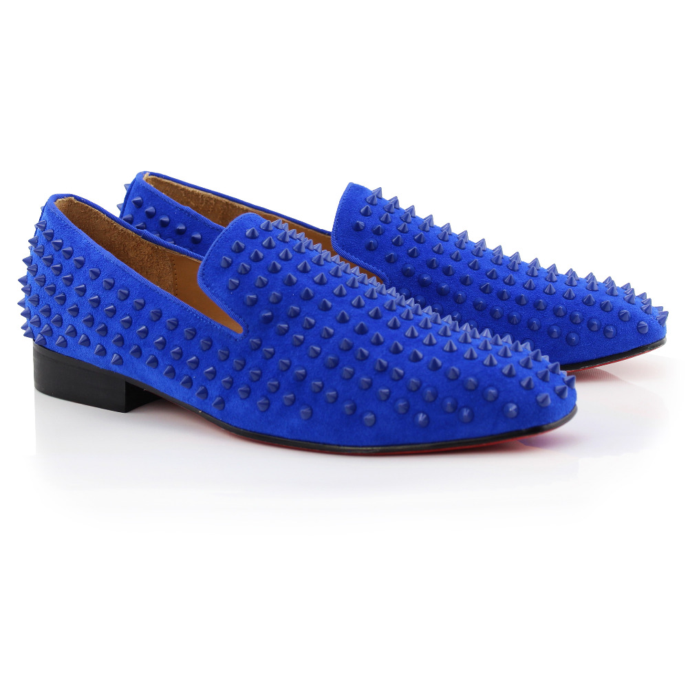 COOL TIRO Fashion Flats Shoes Blue Suede Spikes Leather Driving Shoes Men Red bottom Moccasins Boat Loafers Smoking Slippers