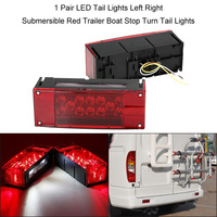 1 Pair LED Tail Lights Left Right Submersible Red Trailer Boat Stop Turn Tail Lights Car