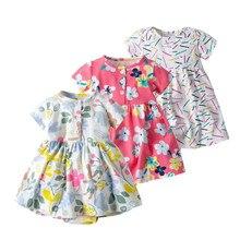 Модная одежда для маленьких девочек платье для новорожденных-2 лет Брендовое платье-комбинезон с цветочным принтом хлопковые летние платья для малышей