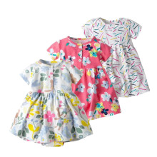 2019 Fashion girl baby clothing newborn - 2 years infant dress brand print flower  jumpsuit dress cotton summer baby dresses