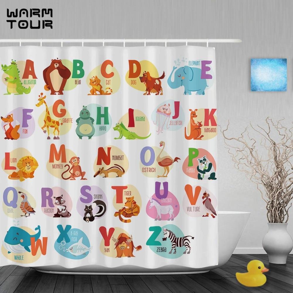 Pics photos children bathroom themes shower curtains fish animals - Warm Tour Educational Alphabet Letters Kids Shower Cutains Cute Animals Decor Baby Bathroom Curtains Waterproof Fabric