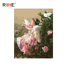 RIHE Angel Girl Oil Painting By Numbers Rose Dove Cuadros Decoracion Acrylic Paint On Canvas For Artwork Modern Home Decor 2018