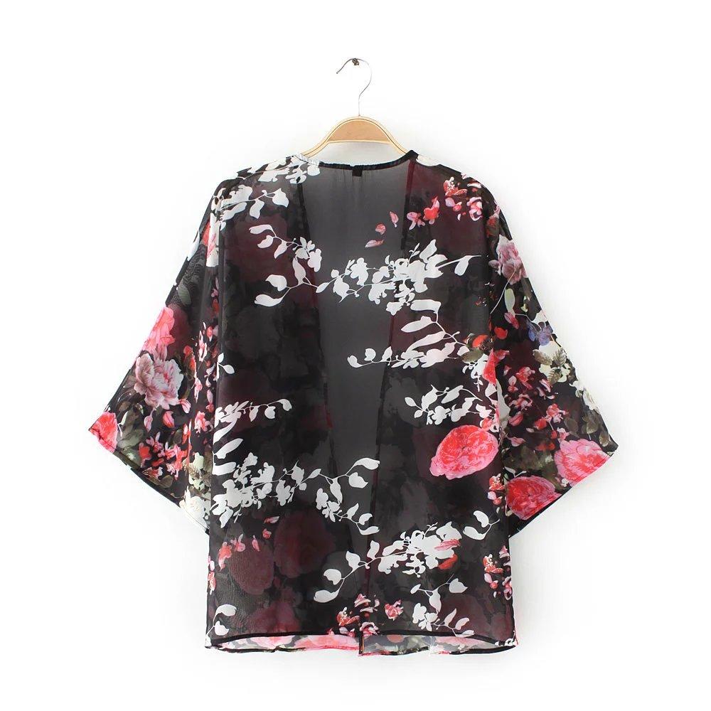 Aliexpress.com : Buy 2017 Women Vintage Floral Print kimono Blouse ...