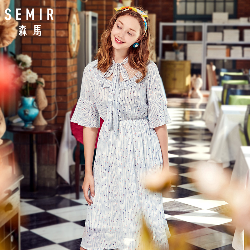 Semir Female Dress 2018 Summer New Chiffon Romantic Sweet Fresh Bow Beach Women Dresses Lace Stitching Sweet Strap Clothes Lady 1