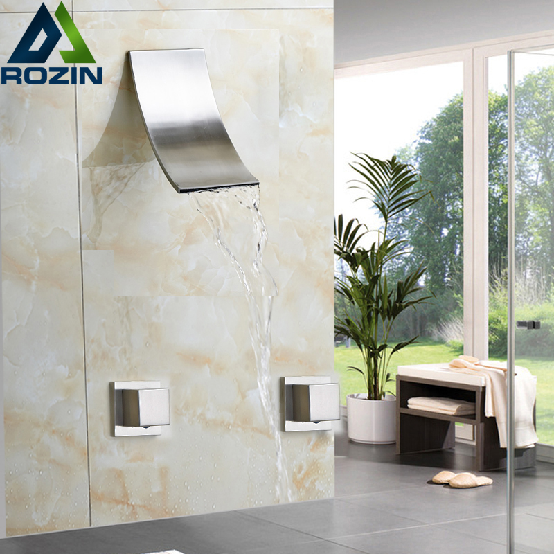 Brushed Nickel Waterfall Shower Head Bath Shower Faucet Dual Handle Wall mounted Shower Mixer Taps brushed nickel waterfall shower mixer taps wall mount single handle with handshower bath shower faucet set
