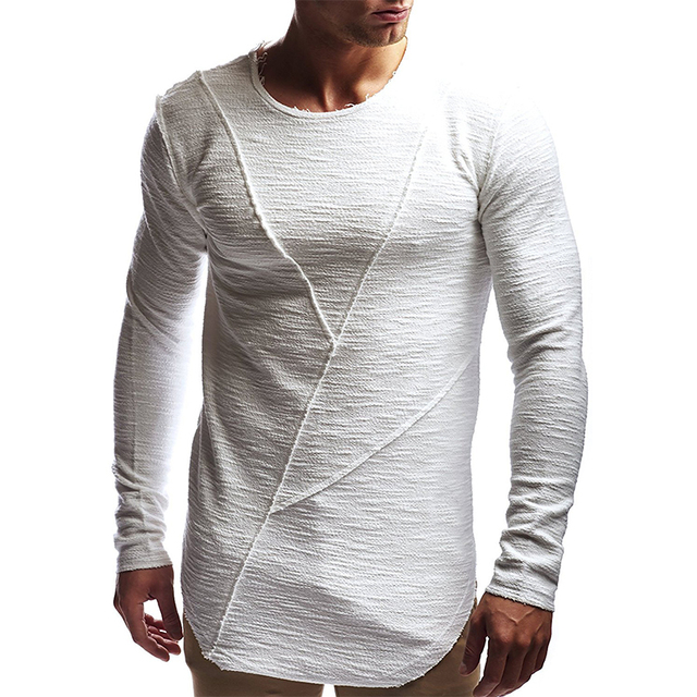 New fashion men's T-shirt 2018 autumn and winter long-sleeved solid color T-shirt men's brand clothes Slim T-shirt 1