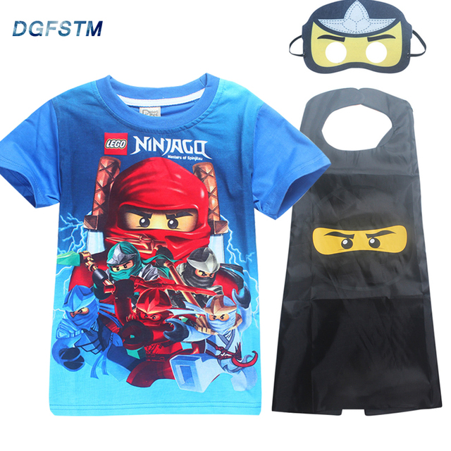 2018 Summer Baby Boys T Shirts Cape Sets Birthday Party Cosplay Costume NINJA Ninjago Short Sleeve Shirt Clothing