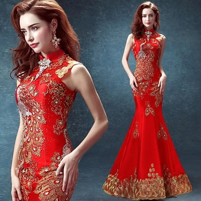 2016 Luxury Red Phoenix Jewel Embroidery Backless Cheongsam Dresses Satins  Mermaid Chinese Evening Dress Oriental Long Qipao