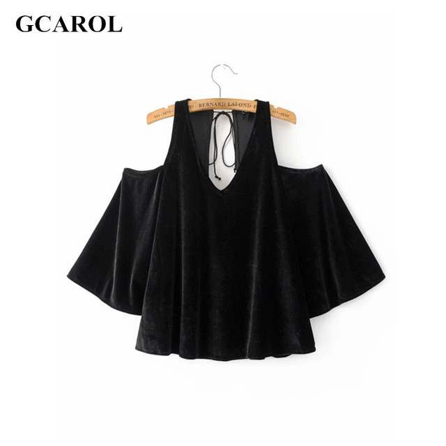 GCAROL 2017 Women Off The Shoulder Velvet Tops Euro Style Sexy Cropped Clothing New Arrival Summer Spring Sexy Stretch Clothing