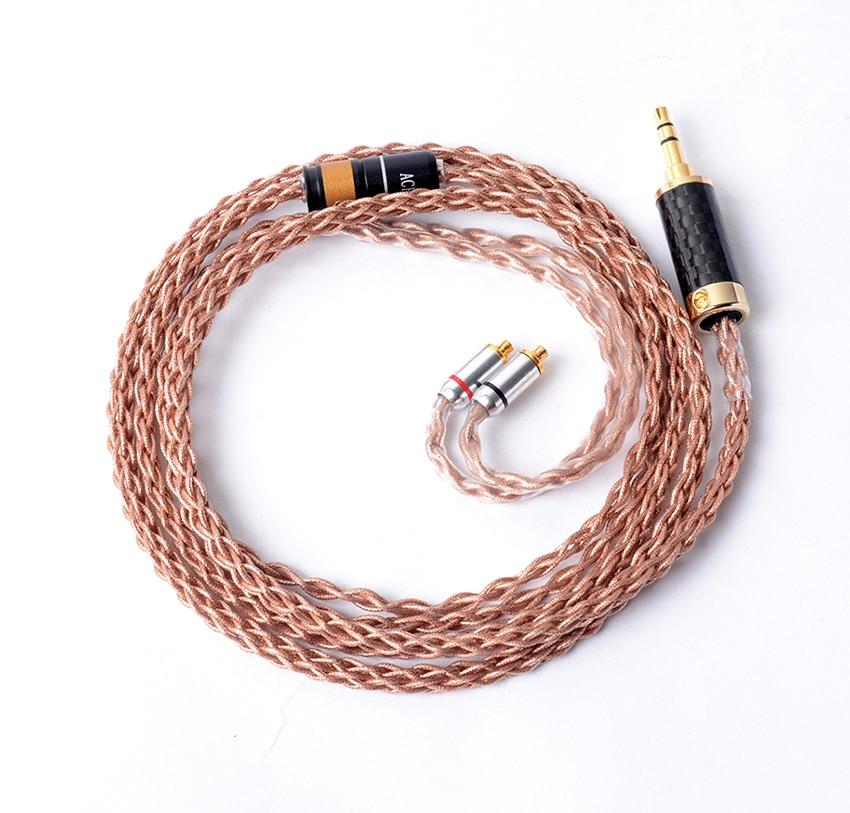 Fait à la main bricolage 7N 8 noyaux cuivre argent MMCX Hifi mise à niveau câble pour écouteurs SHURE SE215 SE315 SE425 SE535 SE846 UE900S LZ A4 A13