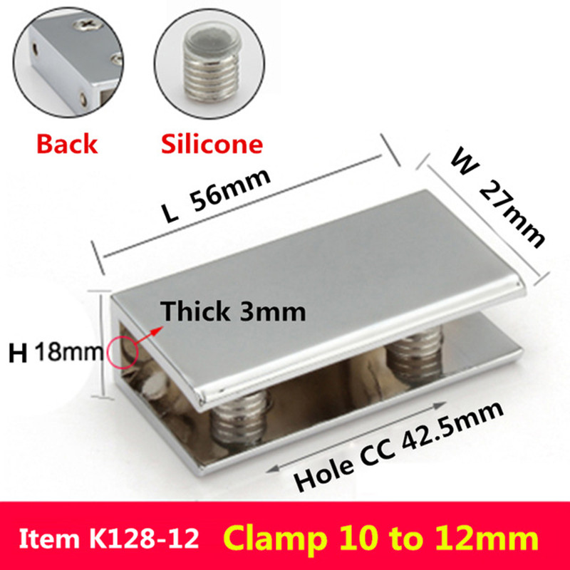 2pcs/lot For 10 To 12mm Glass Board Rectangular Shape Glass Clamps Chrome Finished Zinc Alloy Shelves Support Bracket Clips