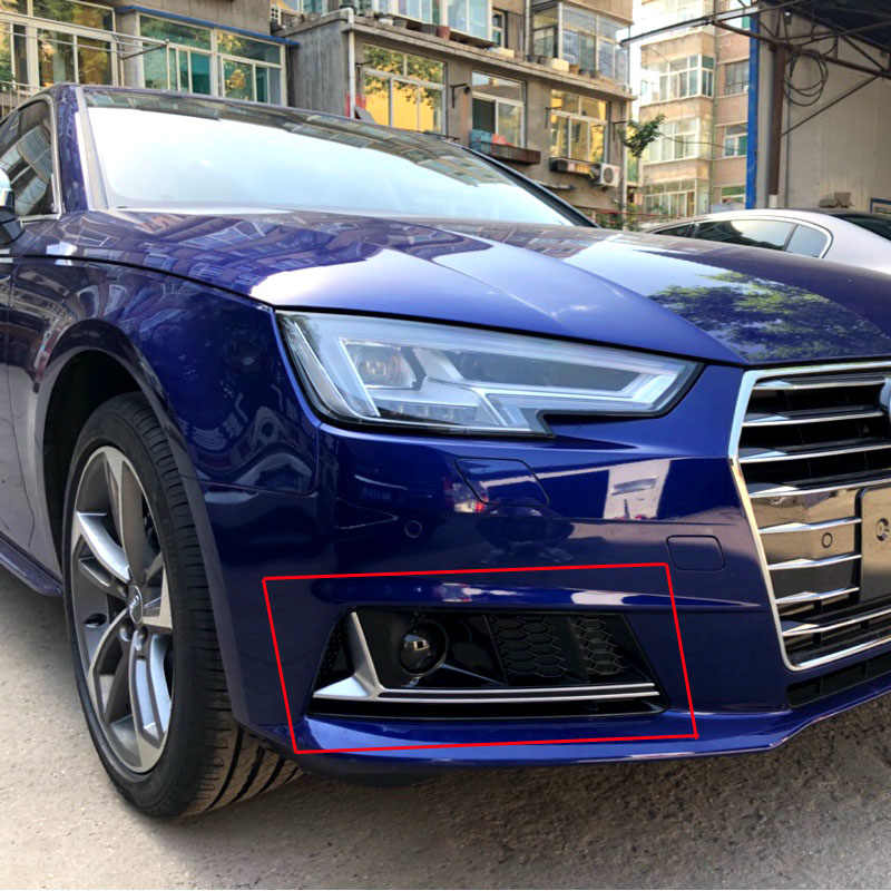 For Audi A4 B9 Modified S4 Style 2016UP Black Front Fog light fog lamp Cover Grille Grill Car Styling Standard Bumper