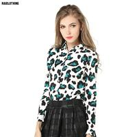 Europe Lady Street Sexy Leopard Novelty Personality Elements  Slim Long Sleeved Shirt Lapel Red GreenWomens Camouflage Shirts #3