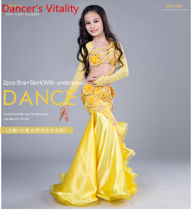 NEW Children Belly Dance Costumes Child Ballroom Dance Performance clothes Long Sleeves Bra Skirt Girls Dance
