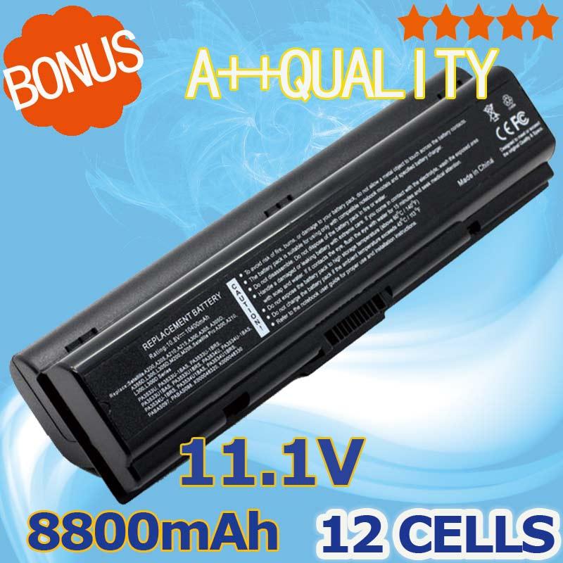 8800mAh Battery For Toshiba A300 A500 L200 L300 L500 L550 L505 L555 M202 pa3534 3534 pa3534u PA3534U-1BAS PA3534U-1BRS Satellite slik u 8800