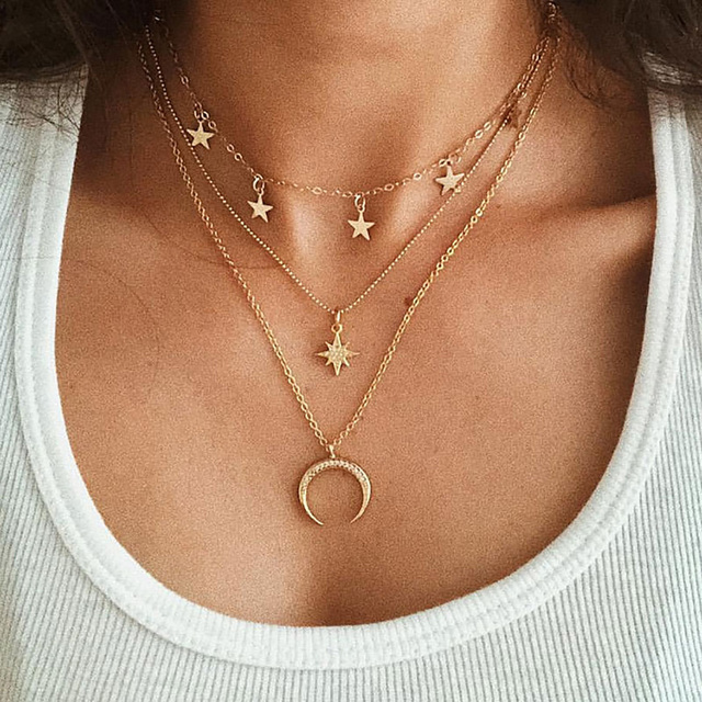 Bls-miracle Bohemian Multi layer Pendant Necklaces For Women Fashion Golden Geometric Charm Chains Necklace Jewelry Wholesale 3