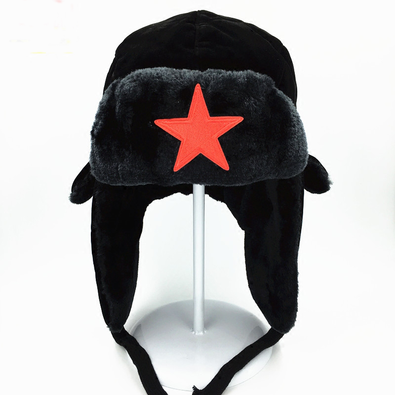 Winter Hat Bomber-Hat Russian-Hat Aviator Trapper Women Ear-Flaps for Pentagram Lei Feng