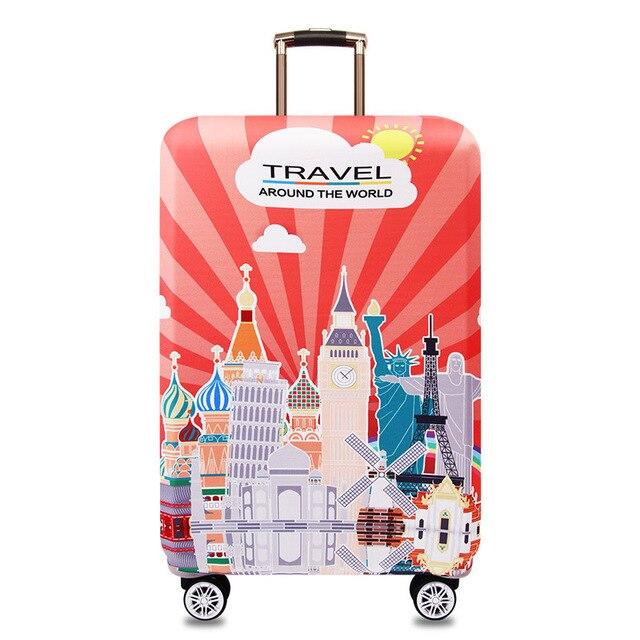 HMUNII карта мира, дизайнерский защитный чехол для багажа, Дорожный Чехол для чемодана, эластичные пылезащитные Чехлы для 18-32 дюймов, аксессуары для путешествий - Цвет: Castle
