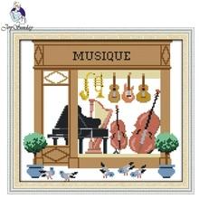 Joy Sunday,Musique,Chinese cross stitch embroidery set,printing cloth embroidery,cross pattern,cross needlework