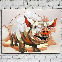 Cartoon Hand painted Oil Painting in Oil Painting Art Wall Decoration Abstract Animals.Happy Pigs Strecth/no Framework Pictures