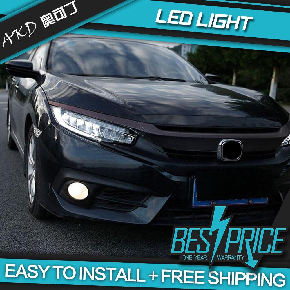 Phare de style AKD Cars pour Honda CIVIC X G10 Origine Type phares LED feux de circulation faisceau bi-xénon feux de brouillard yeux d'ange - 5