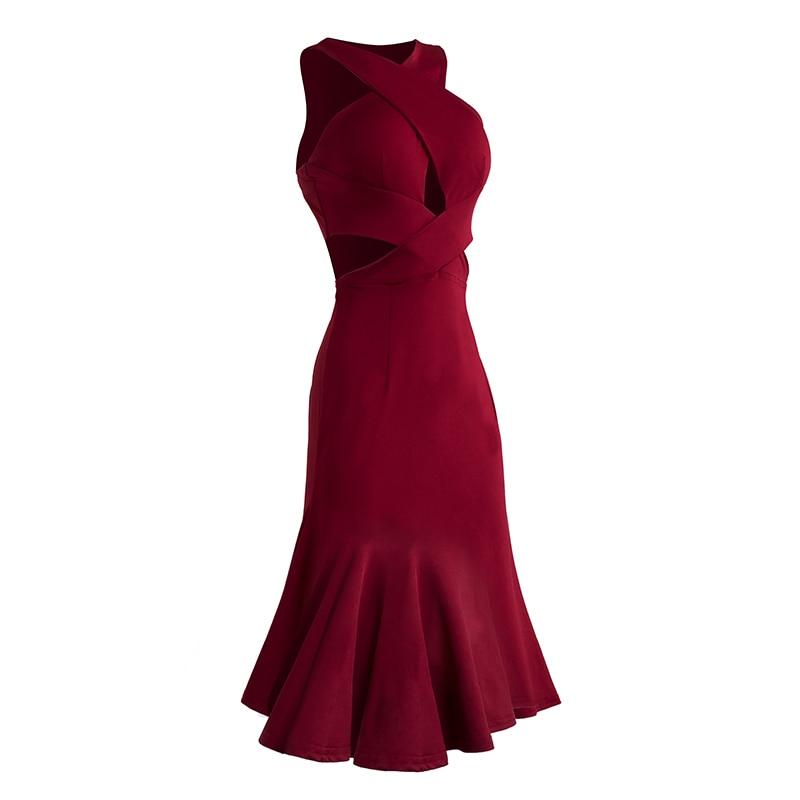 Slim Red Latin Dance Dress Women Sexy Hollow Ballroom Dancing Dresses Sleeveless Rumba Tango Cha Cha Samba Practice Wear DC1319